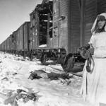 Soviet Soldier Guards Train
